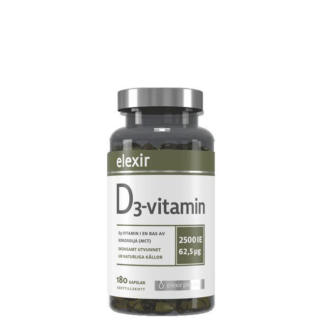 D3-vitamin 2500 IE, 180 kapslar Elexir Pharma