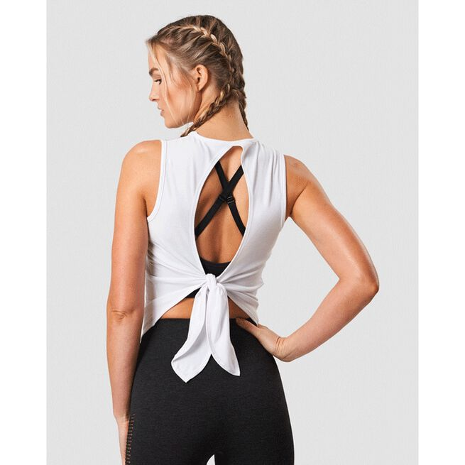Empowering Open Back Tank, White, L