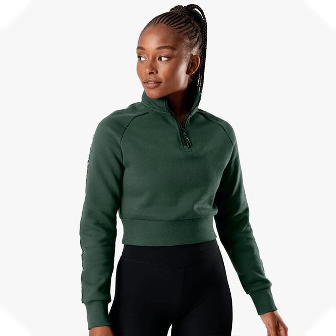 ICANIWILL Essential Cropped Logo Sweater, Moss