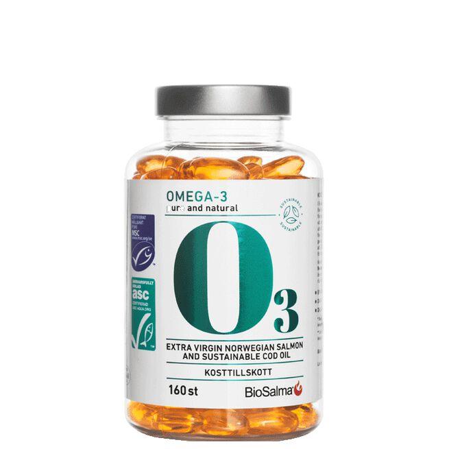 BioSalma omega3 Pure Natural Cod and salmonoil 800mg, 160 tabletter