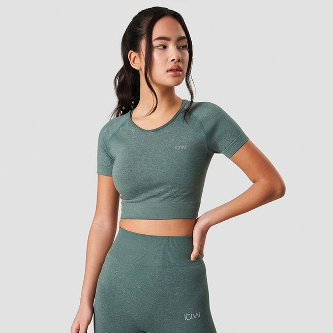ICANIWILL Define Seamless Cropped T-shirt Sage Melange