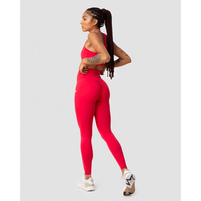 Scrunch V-Shape Tights, Raspberry Red, L