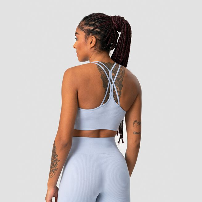 ICANIWILL Ribbed Define Seamless Sports Bra, Cloudy Blue