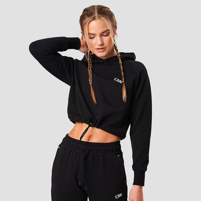 ICANIWILL Adjustable Cropped Hoodie Black