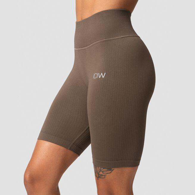 ICANIWILL Ribbed Define Seamless Biker Shorts, Dark Sand