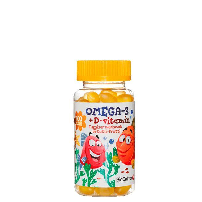 Omega-3 + D-vitamin Barn, 100 st tuggisar