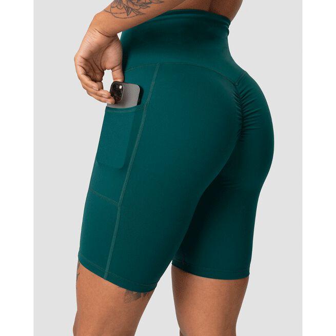 Scrunch Pocket Biker Shorts, Teal, XS