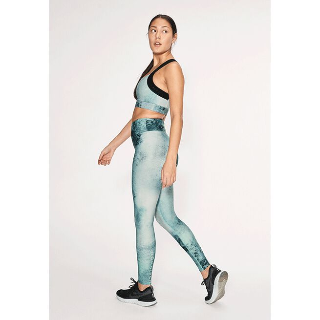 Flattering Keira Printed Tights, Green Space Dyed, S