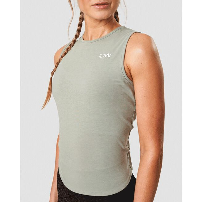 Empowering Open Back Tank, Stone Green