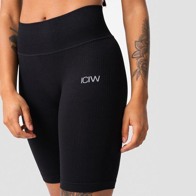 ICANIWILL Ribbed Define Seamless Biker Shorts, Black