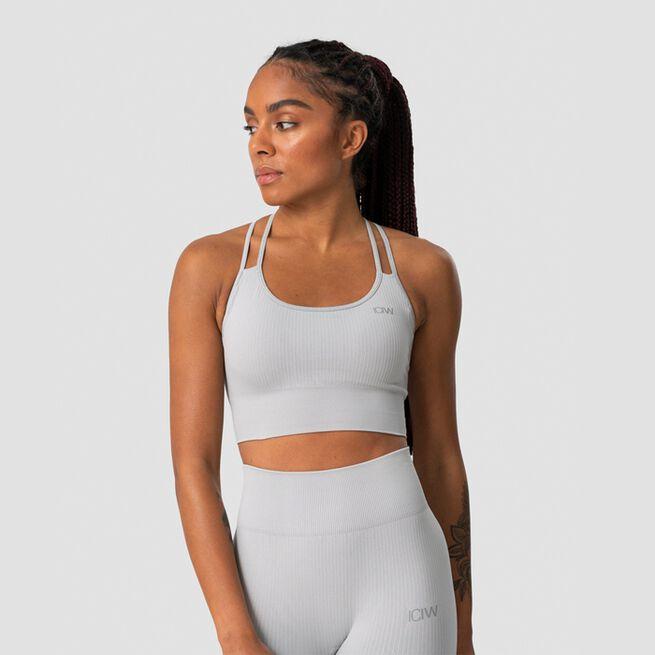 ICANIWILL Ribbed Define Seamless Sports Bra, Light Grey