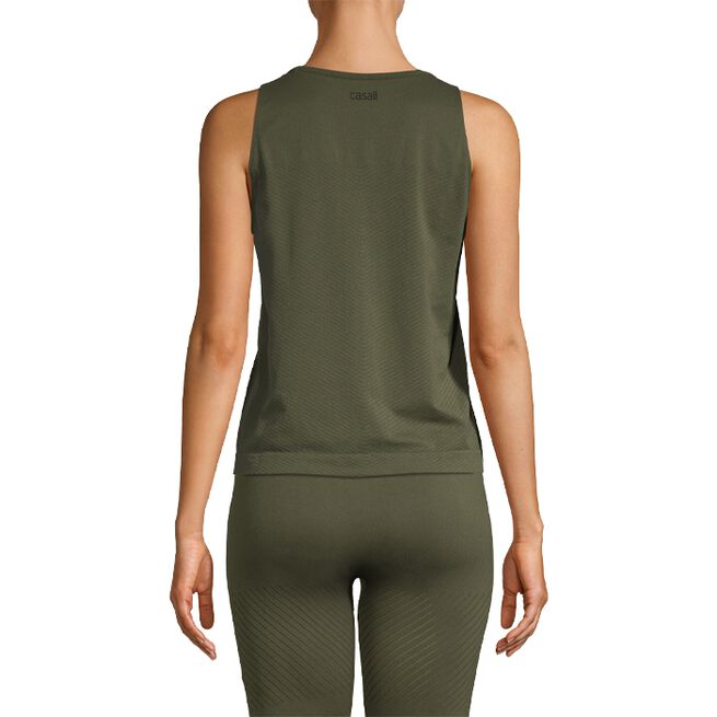 Seamless Blocked Tank, Forest Green, S