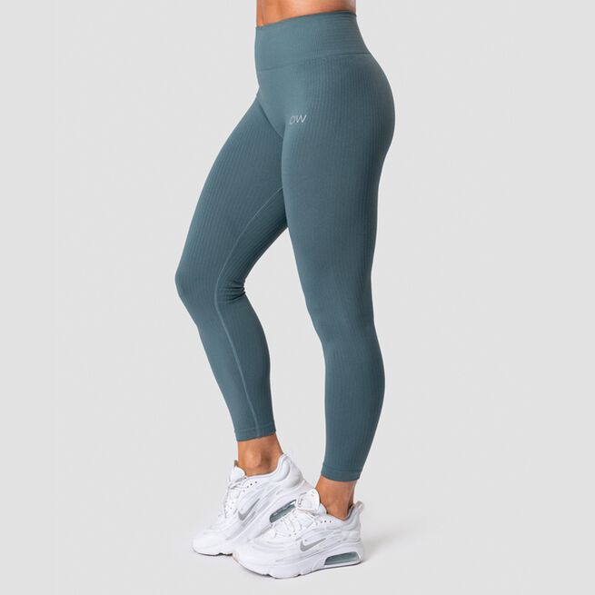 ICANIWILL Ribbed Define Seamless Tights, Jungle Green