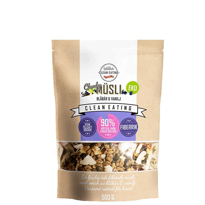 Ekologisk Müsli Chunky Blåbär & Vanilj, 500 g