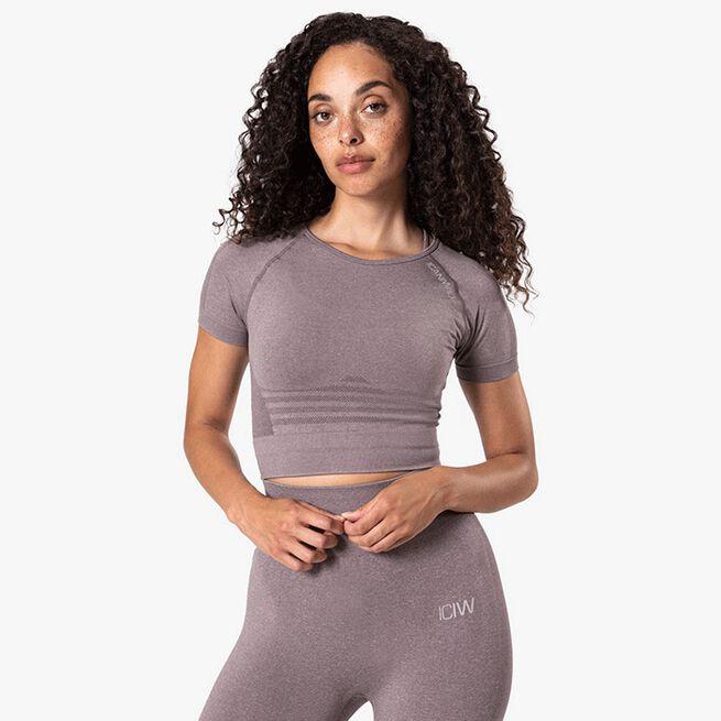 ICIW Define Seamless Cropped T-shirt, Faded Violet Melange