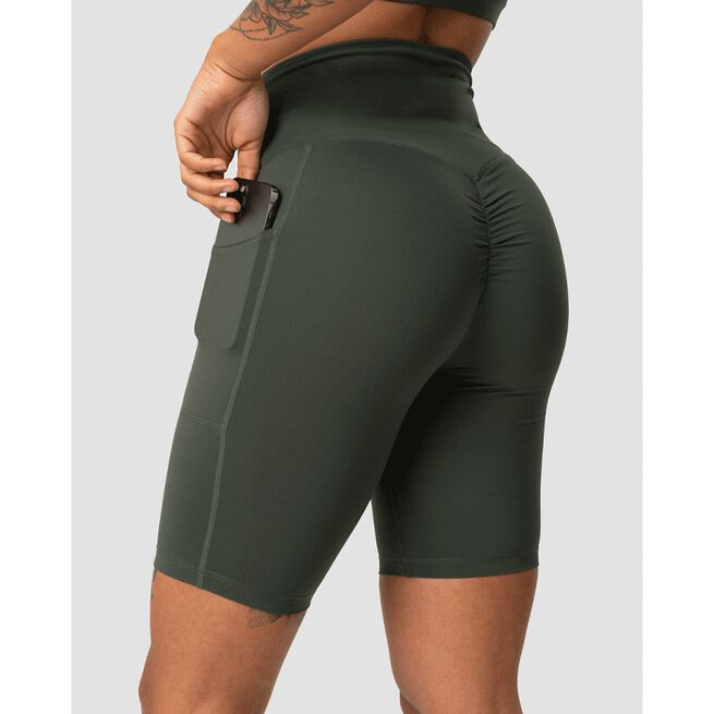 Scrunch Pocket Biker Shorts, Army Green, L
