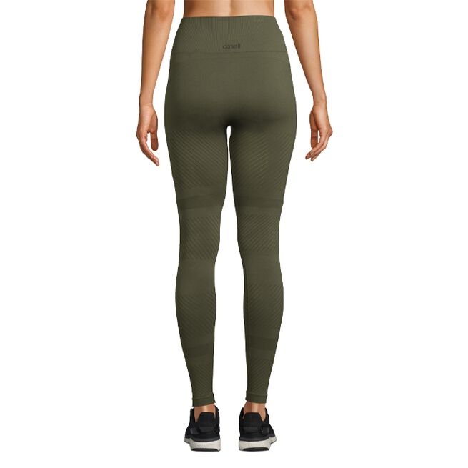 Seamless Blocked Tights, Forest Green, S