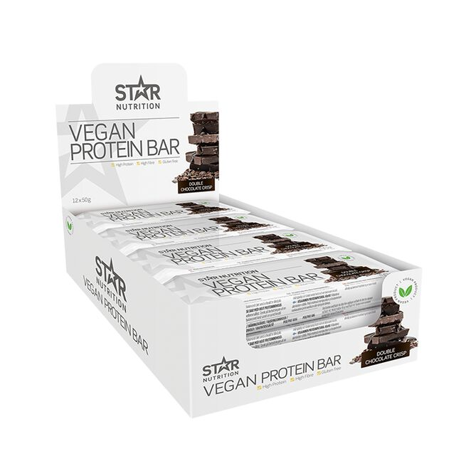 12 x Vegan Protein bar, 50 g, Double chocolate crisp