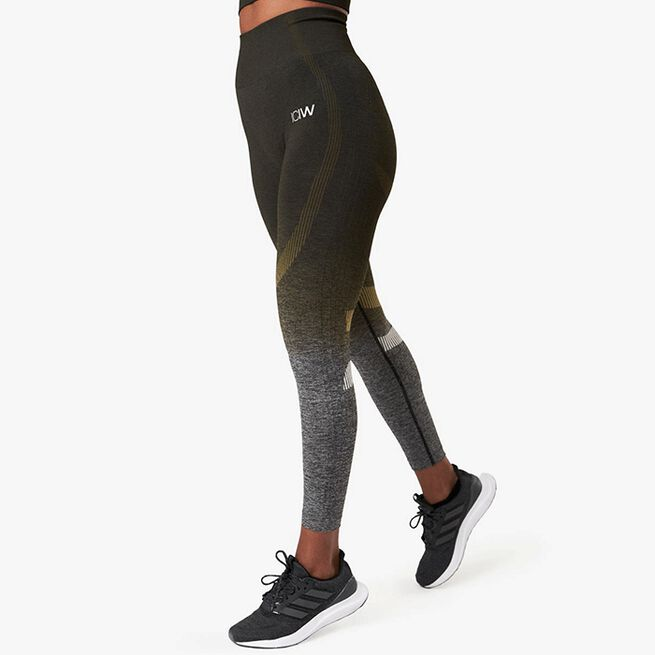 ICANIWILL Ombre 7/8 Seamless Tights, Jungle Green Melange