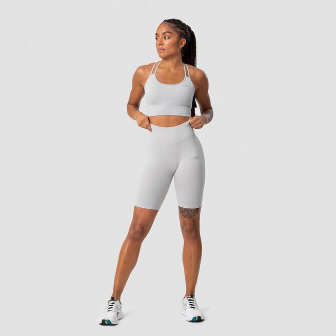 ICANIWILL Ribbed Define Seamless Biker Shorts, Light Grey