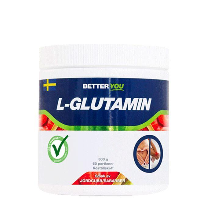 Naturligt L-Glutamin, 300 g, Jordgubb/Rabarber Better You