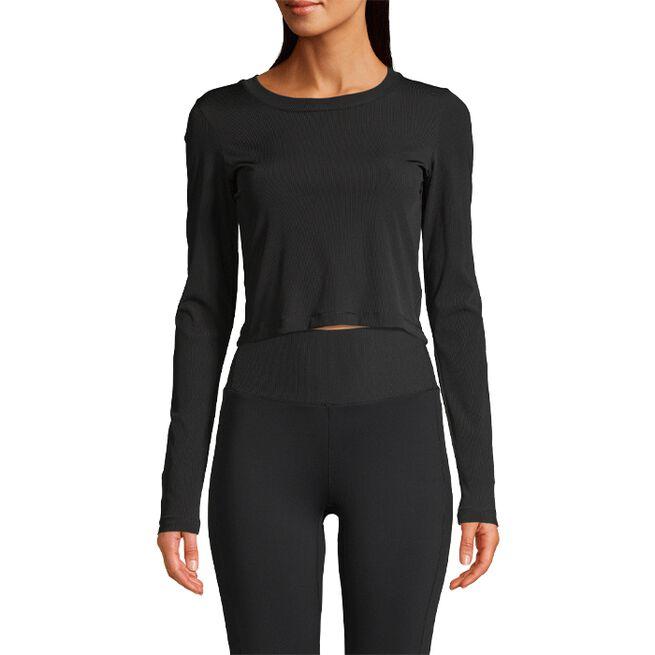 Casall Shiny Rib Long Sleeve Black