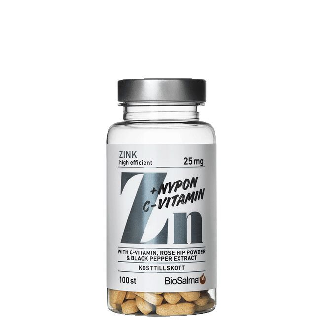 Zink 25mg + C-vitamin & Nypon, 100 tabletter
