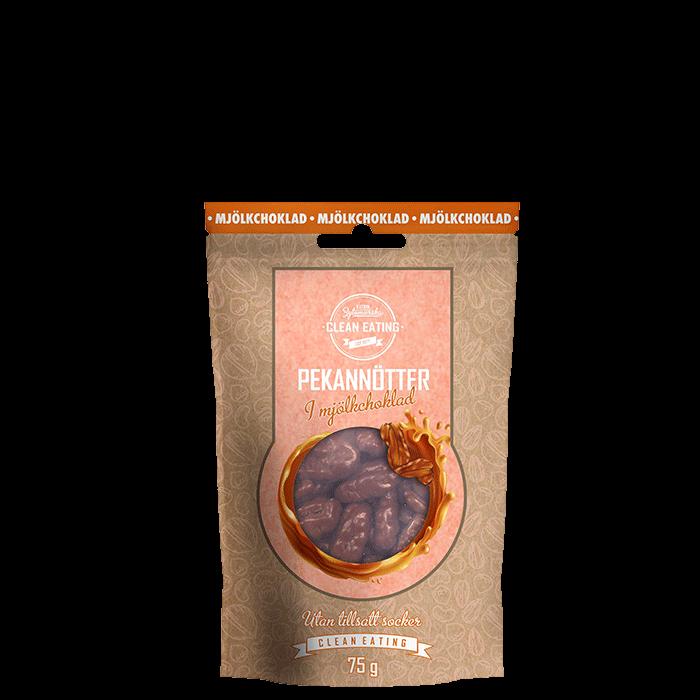 Pekannötter i mjölkchoklad, 75 g