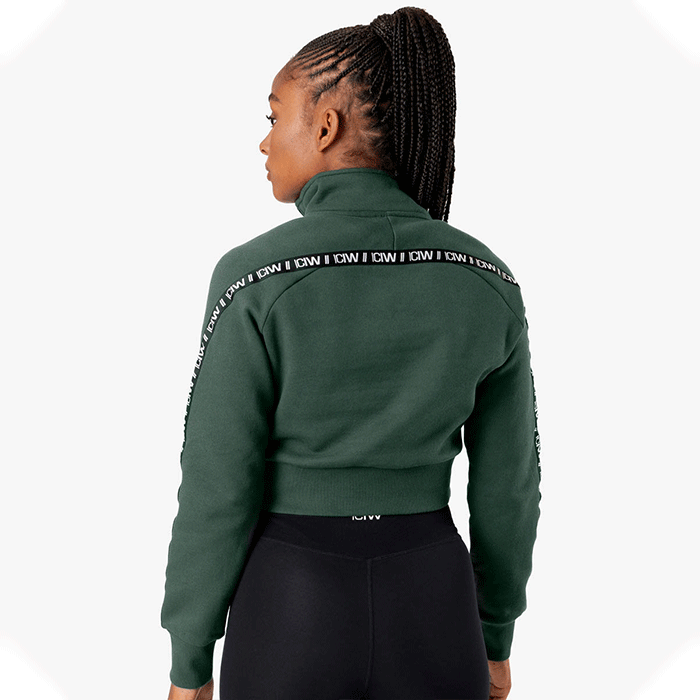 Essential Cropped Logo Sweater, Moss