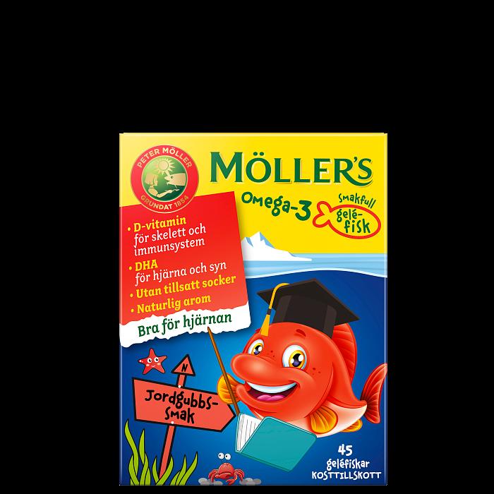 Möllers Omega-3 Gelefisk Jordgubb, 45 st