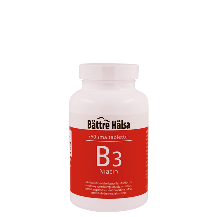 B3 Niacin 10 mg, 750 tabletter
