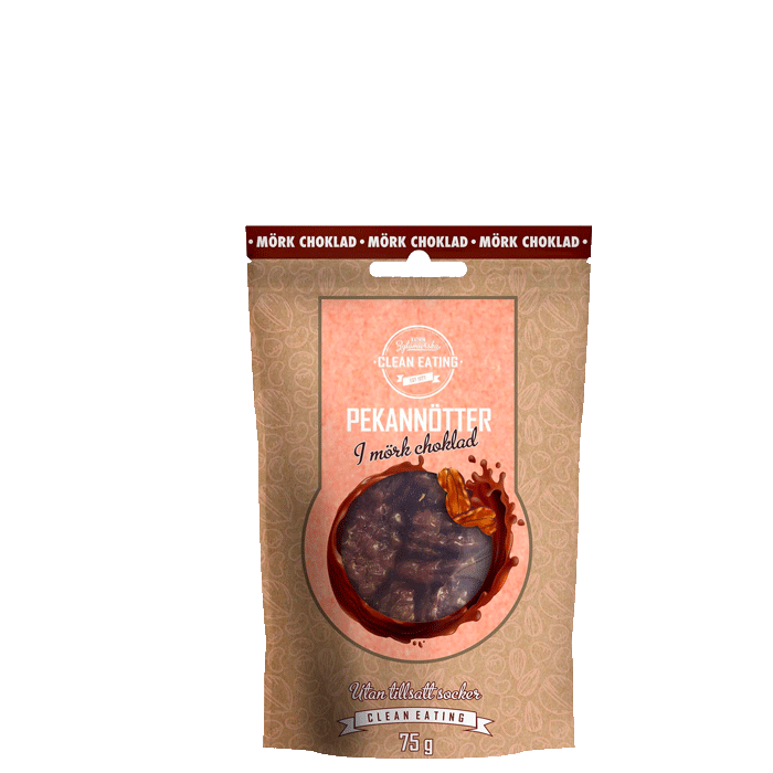 Pekannötter i mörkchoklad, 75 g