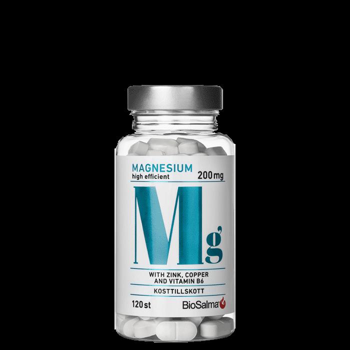 Magnesium 200mg + Zink, Koppar, B6, 120 kapslar